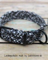 Paracord-Hundehalsband-3-cm-breit,-Schwarz-Weiß-und-stufenlos-verstellbar