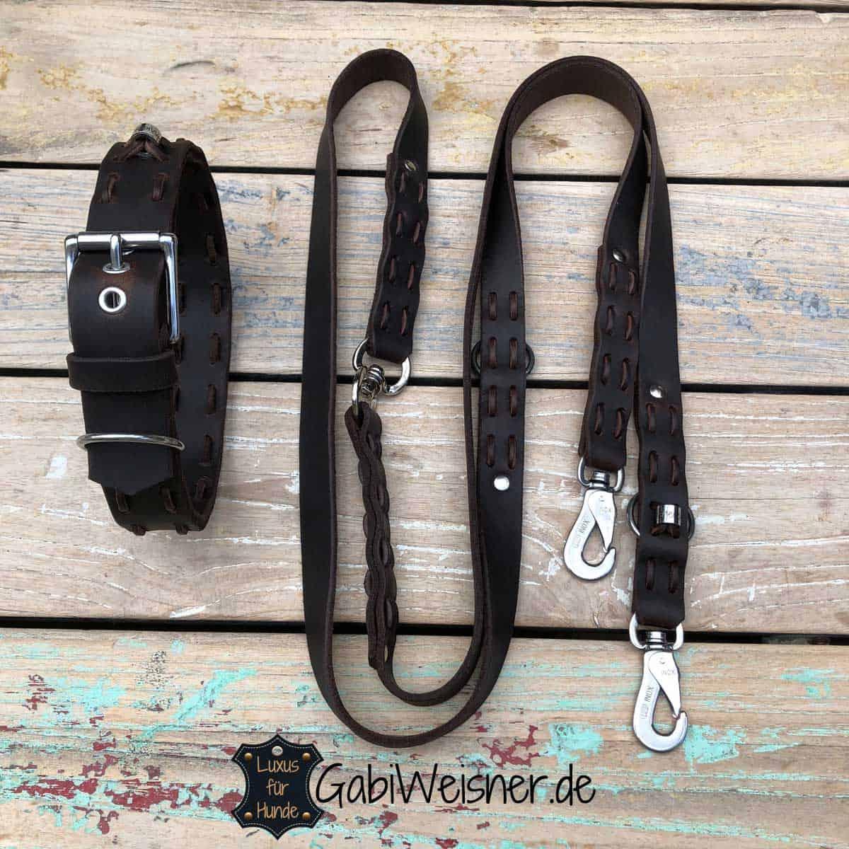 SET Hundehalsband und Leine Volles Leder in Braun beides verstellbar