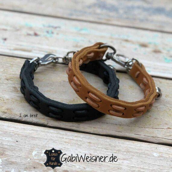 Hundehalsband Leder 2 cm breit Farbe nach Wunsch in Schwarz, Natur oder Braun wählbar. √