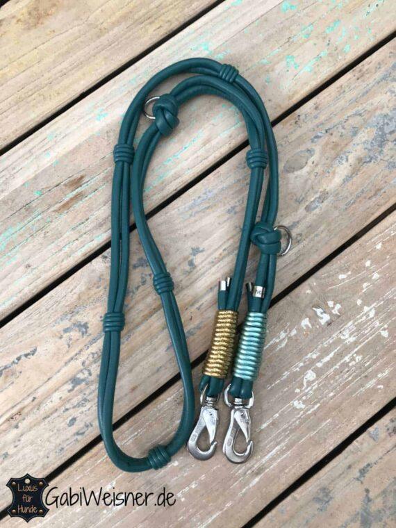 HundeLeine Petrol verstellbar Doppelstrang Leder je 8 mm