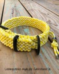 Paracord-Hundehalsband-3-cm-breit,-Gelb-Weiß-und-stufenlos-verstellbar_1