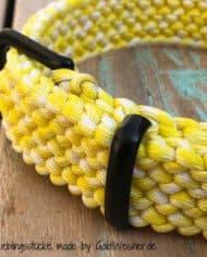 Paracord-Hundehalsband-3-cm-breit,-Gelb-Weiß-und-stufenlos-verstellbar_2