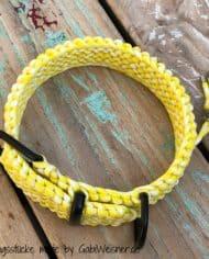 Paracord-Hundehalsband-3-cm-breit,-Gelb-Weiß-und-stufenlos-verstellbar_5