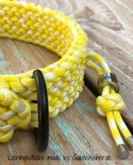 Paracord-Hundehalsband-3-cm-breit,-Gelb-Weiß-und-stufenlos-verstellbar_6