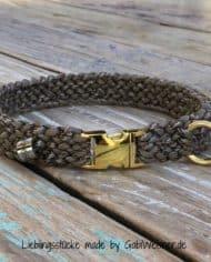 Hundehalsband-2-cm-breit-Paracord-tweed-taupe