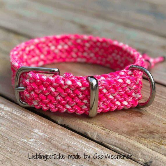 Hundehalsband in Pink 3 cm breit und stufenlos verstellbar