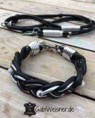 Hundehalsband-Leder-geflochten-leine-Schwarz-Silber-Strass-SET-1