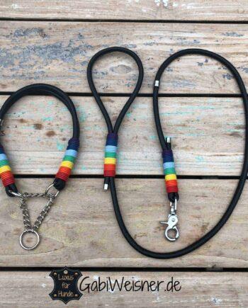 Hundehalsband Leine SET Leder in Schwarz mit Regenbogen-Umwicklung