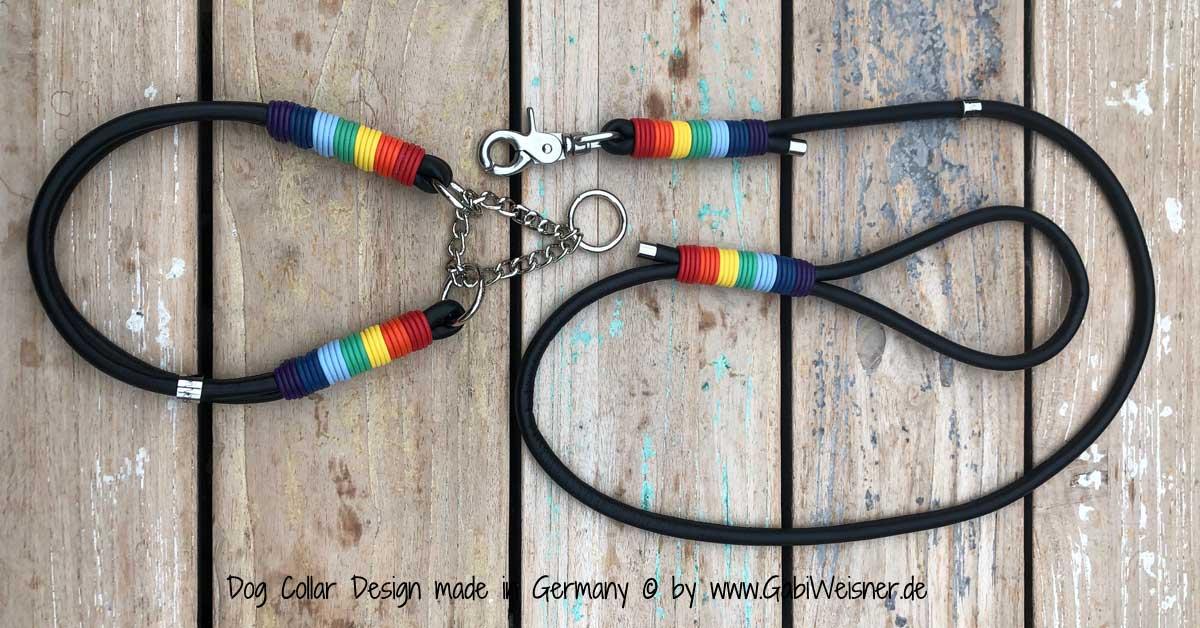 Hundehalsband SET Regenbogen