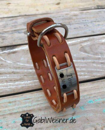 Hundehalsband mit Namen Leder 25 mm breit