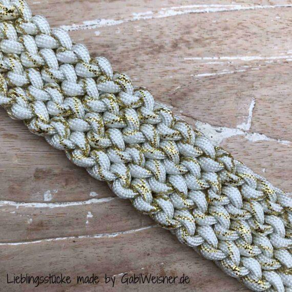 Hundehalsband Weiss Gold Glitzer, 3 cm breit, stufenlos verstellbar