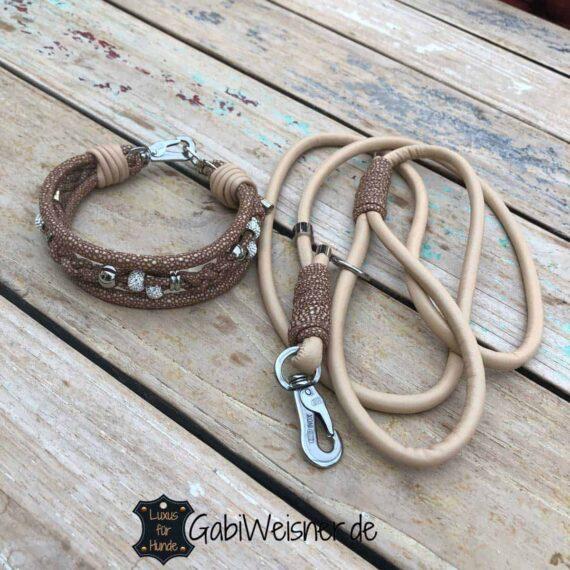 Hundehalsband mit Strass im SET Luxus für kleine Hunde