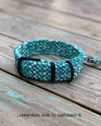 Hundehalsband Tuerkis-Weiss 3 cm breit stufenlos verstellbar