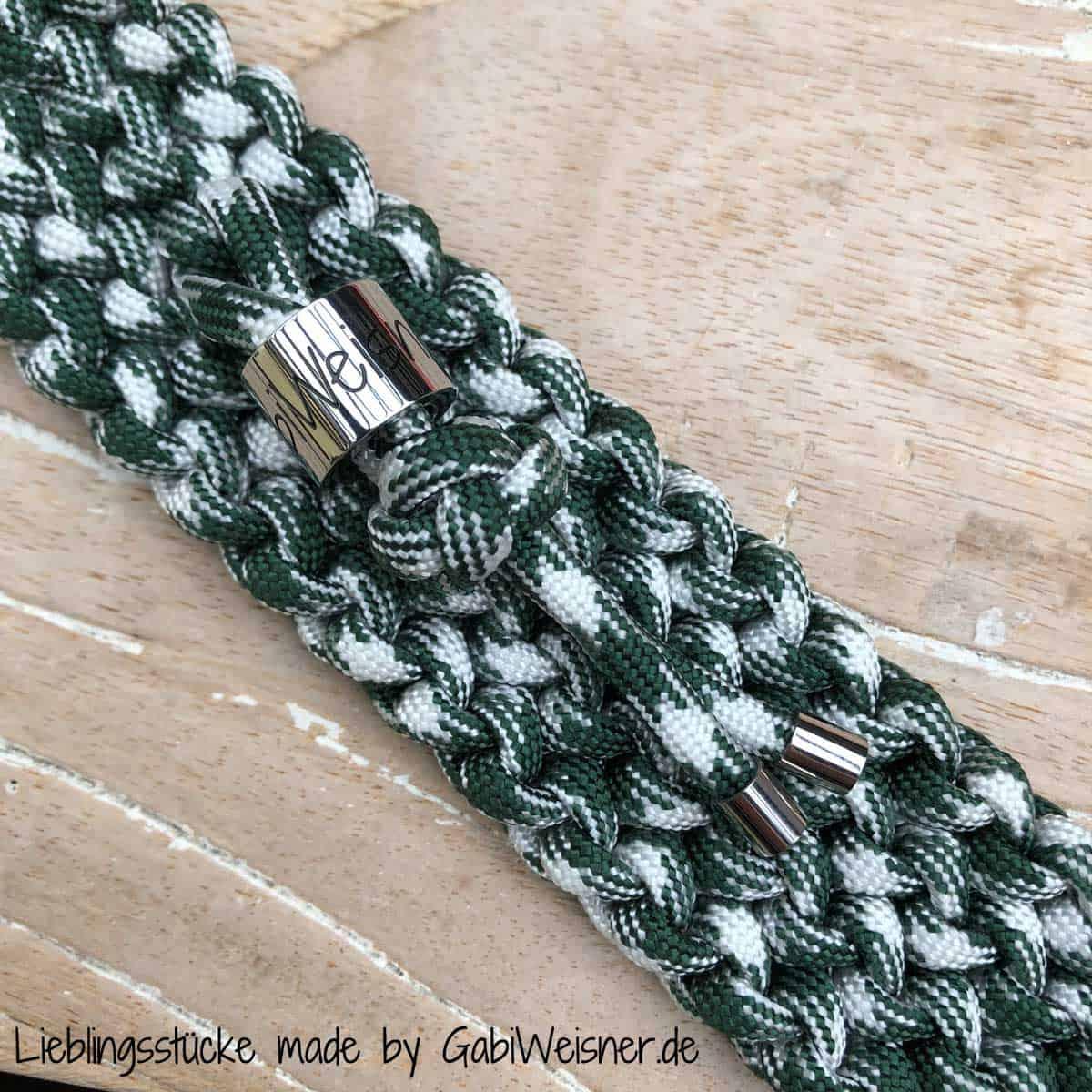 Hundehalsband Grün-Weiß, 3 cm breit, stufenlos verstellbar