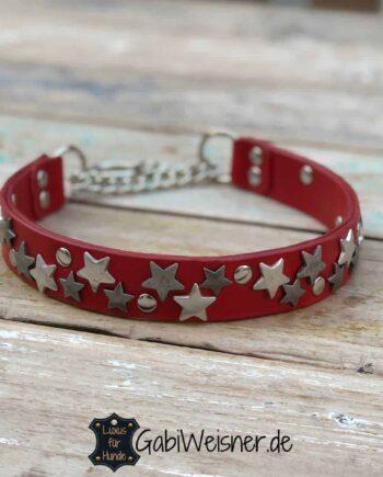 Halsband Stars Leder Rot 3 cm breit Zugstopp