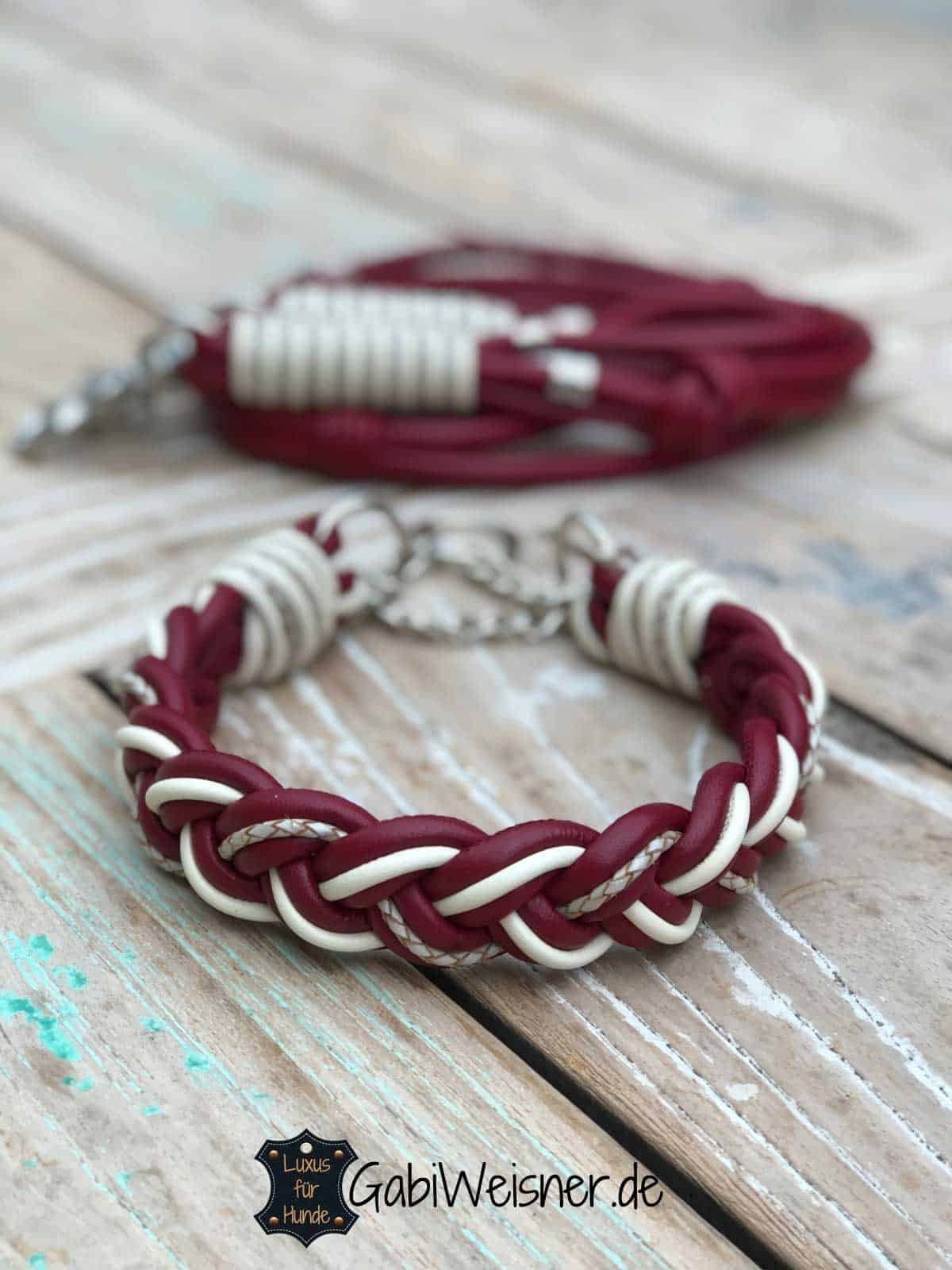 Hundeleine und Halsband im SET aus Leder in Dunkelrot und bestückt mit Edelstahl-Beschlag. Luxus für mittelgroße Hunde. Leder Mix 3,5 cm breit geflochten.