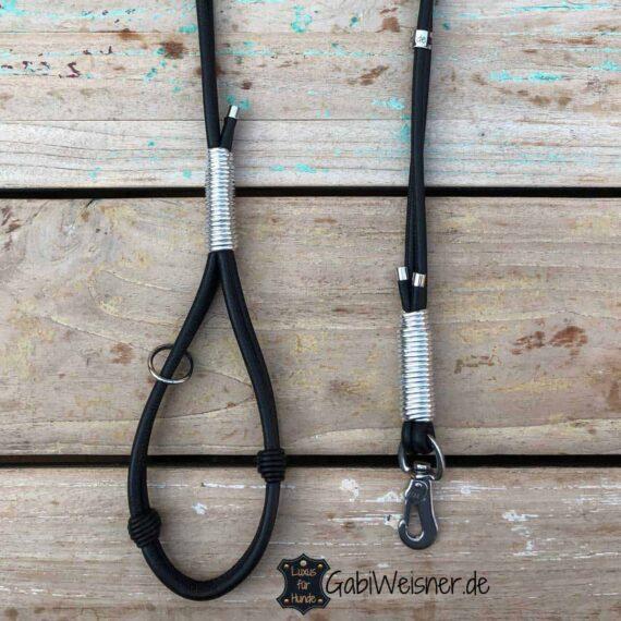 HundeLeine mit Handschlaufe Leder Mix in Schwarz Silber