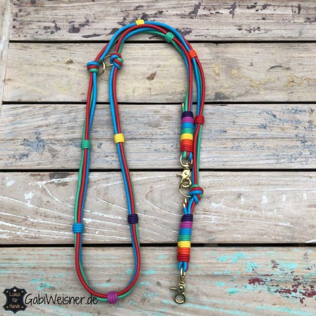 Hundeleine Leder handgefertigt mit 7 Farben Nappaleder
