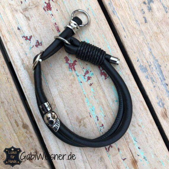 Zugstopp Halsband Leder rund genäht. Luxus für kleine Hunde