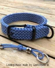 Hundehalsband-Blau-Weiß-Paracord-3-cm-breit-stufenlos-verstellbar