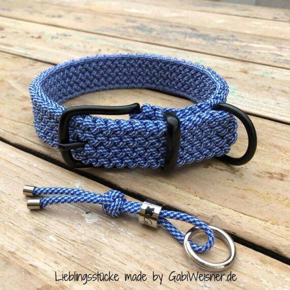 Hundehalsband Blau Weiß Tweed Paracord 3 cm breit stufenlos verstellbar