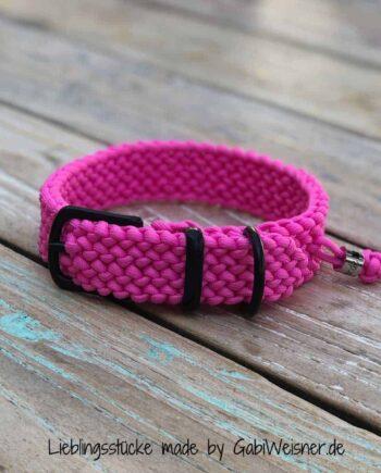 Hundehalsband Paracord Pink 3 cm breit stufenlos verstellbar