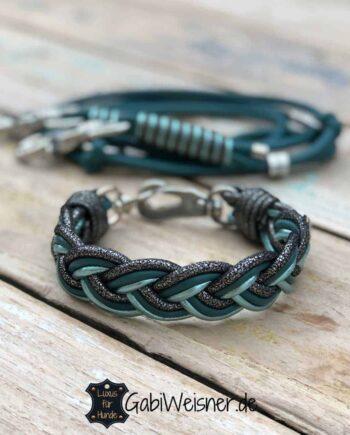 Hundehalsband SET mit Leine. Leder Mix in Petrol und Türkis-metallic