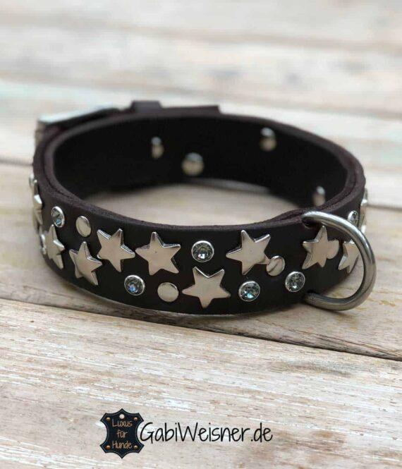 Hundehalsband mit Glitzer Sternen Leder in Braun oder Schwarz