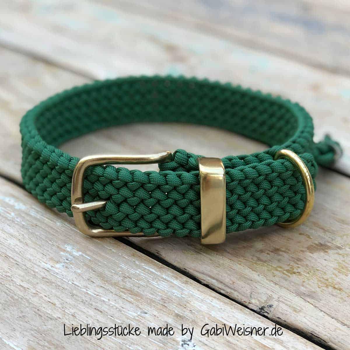Hundehalsband Paracord Grün 3 cm breit stufenlos verstellbar