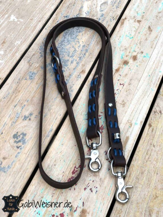 Hundeleine Fettleder 2 cm breit 2-fach verstellbar Braun Blau