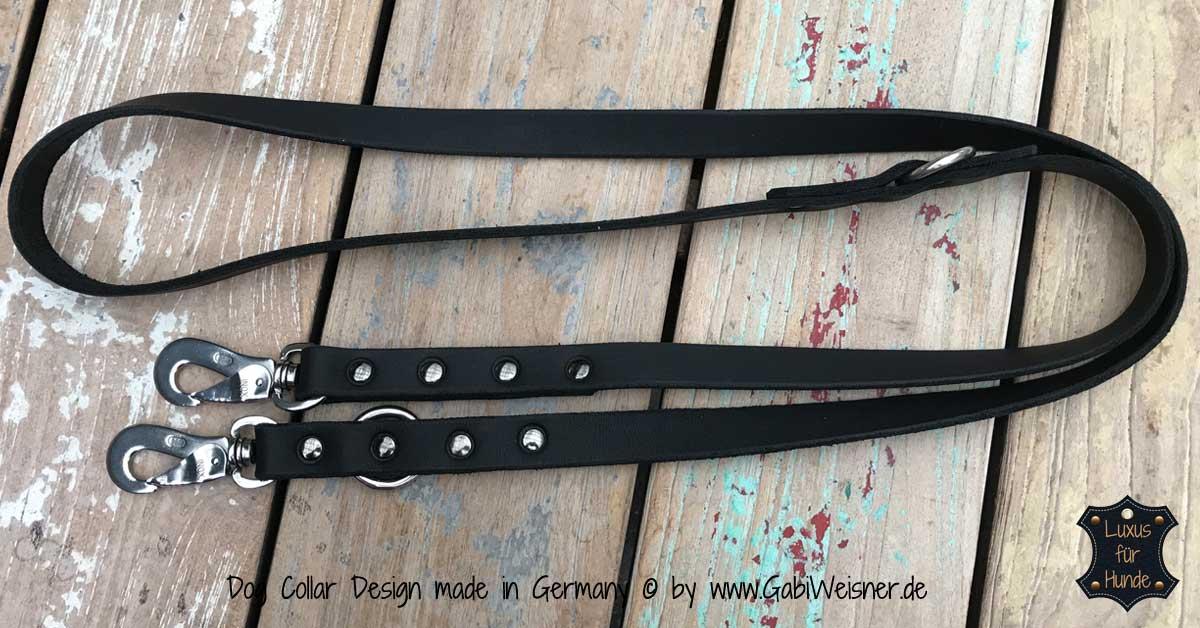 Hundeleine 2 cm breit 1,6 m 2-fach verstellbar Sprenger® Haken Fettleder in Braun oder Schwarz