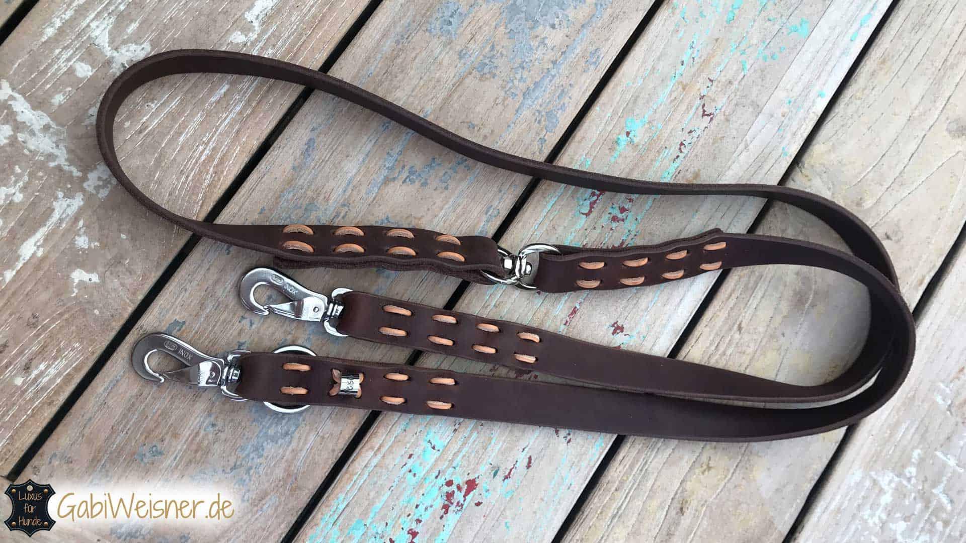 Hundeleine Fettleder 2,5 cm breit 2,2 m lang Farbe nach Wunsch