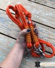 Hundeleine-Leder-Orange