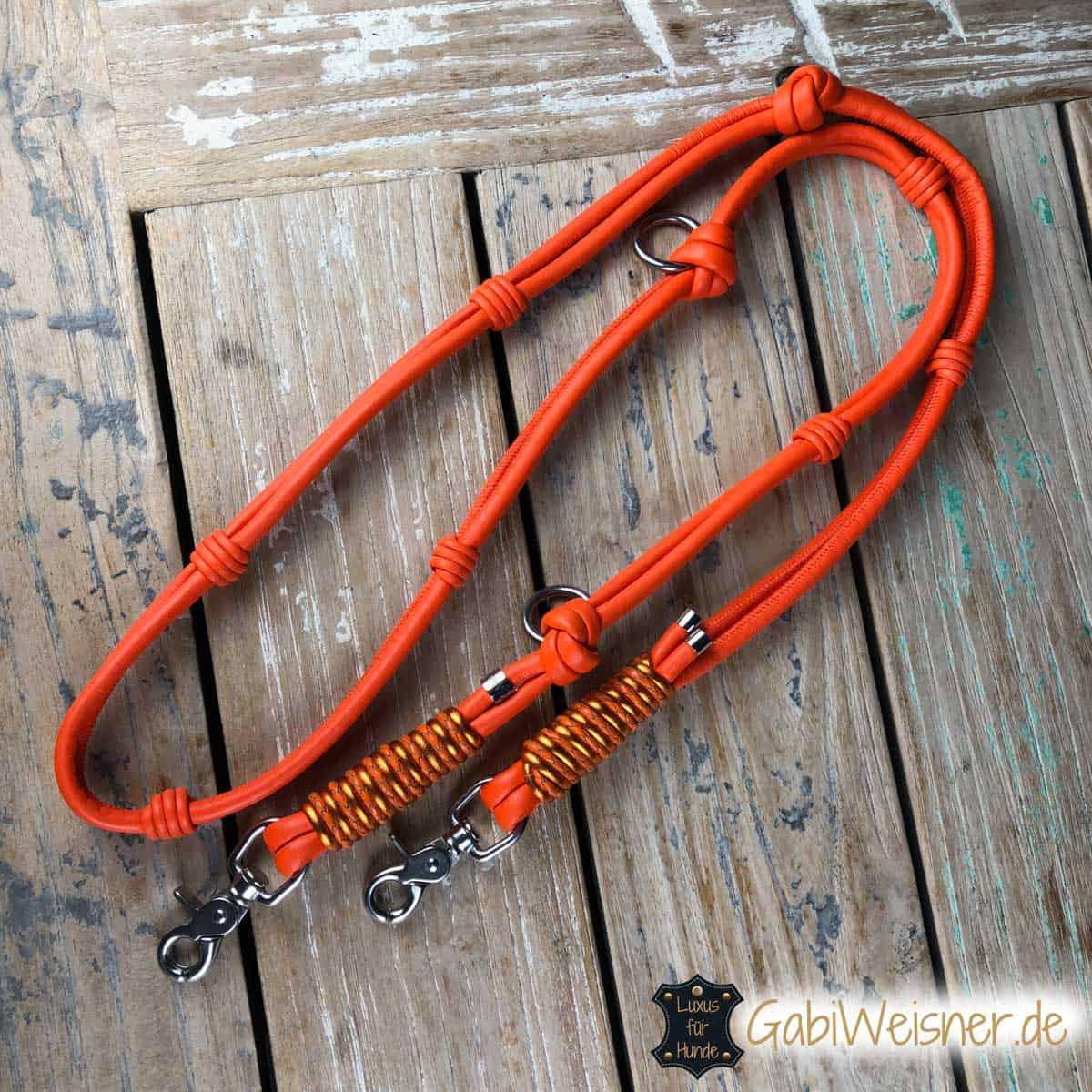 HundeLeine Orange verstellbar Doppelstrang Leder je 8 mm