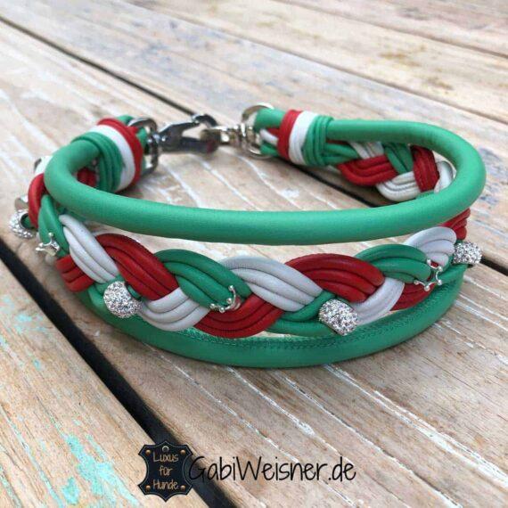 Hundehalsband Italien dekoriert mit Strass und Kronen