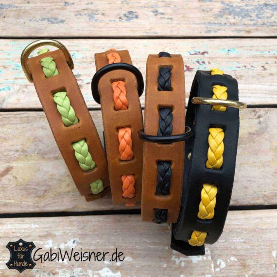 Mix dir dein Hundehalsband so, wie es dir gefällt... Fettleder und Nappaleder im Mix, 25 mm breit und verstellbar mit einer Dornschließe in 5 Ösen.