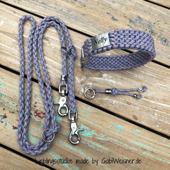 Hundehalsband SET mit Namen 3 cm breit mit Klickverschluss