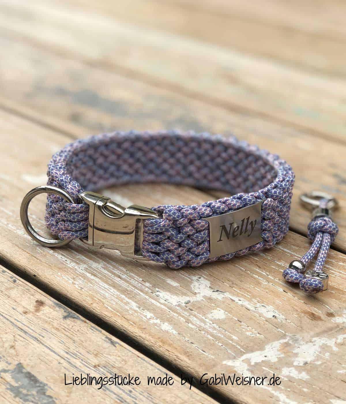 Hundehalsband mit Namen 3 cm breit mit Klickverschluss