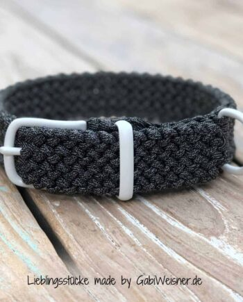 Hundehalsband verstellbar. Paracord Tweed-Anthrazit 3 cm breit