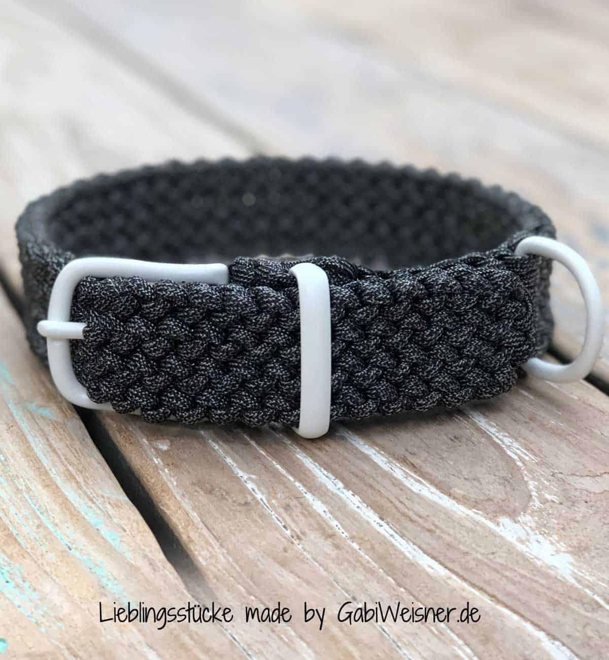 Hundehalsband verstellbar. Paracord Tweed-Anthrazit 3 cm breit
