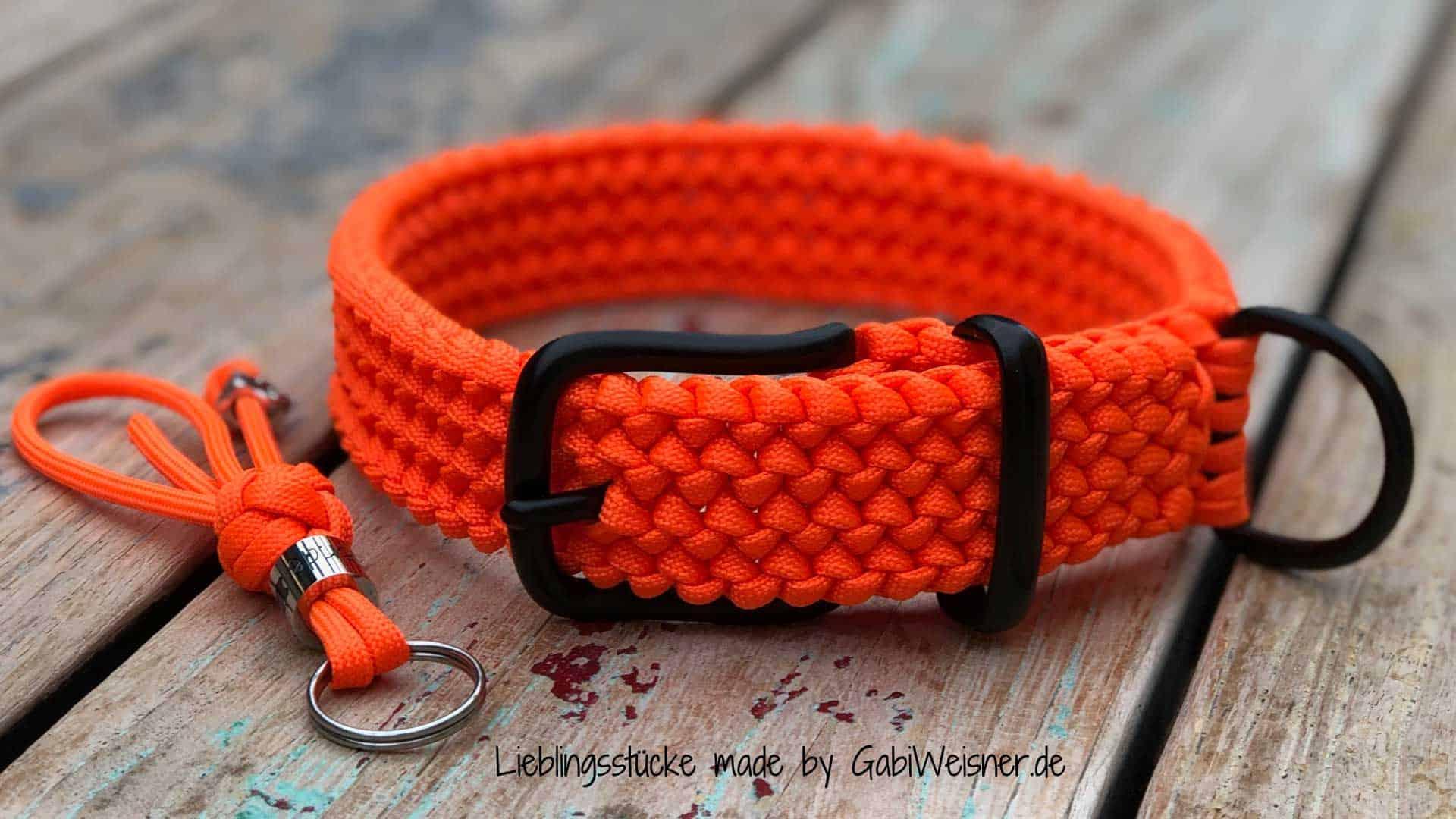 Hundehalsband Orange Paracord 3 cm breit stufenlos verstellbar