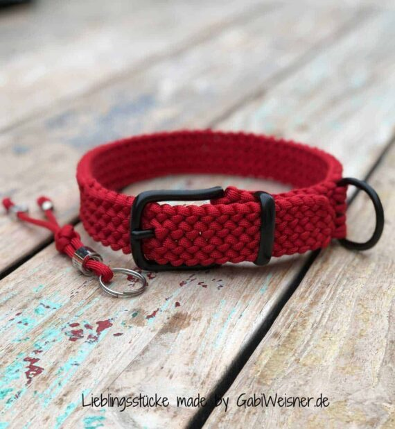 Hundehalsband Rot Paracord 3 cm breit stufenlos verstellbar