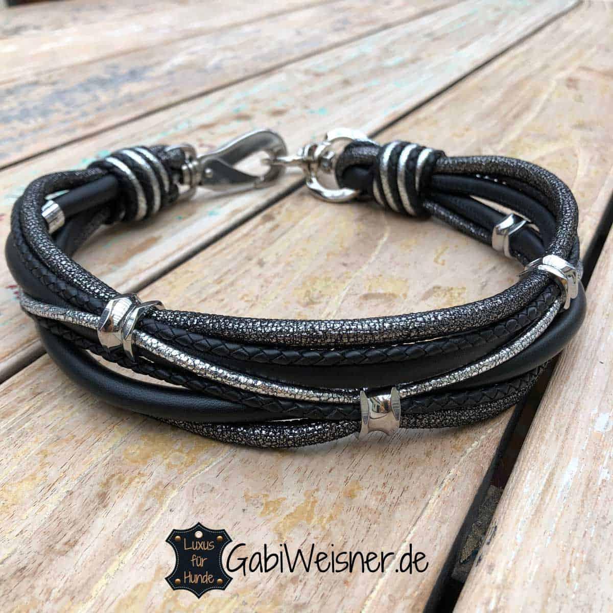 LUXUS Halsband für große Hunde. Nappaleder in Schwarz