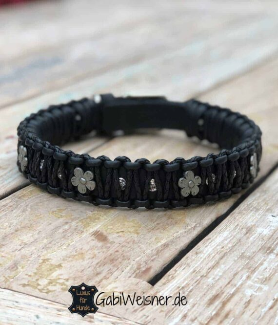 LUXUS Halsband Leder Mix in Schwarz Dekoriert mit SWAROVSKI® ELEMENTS