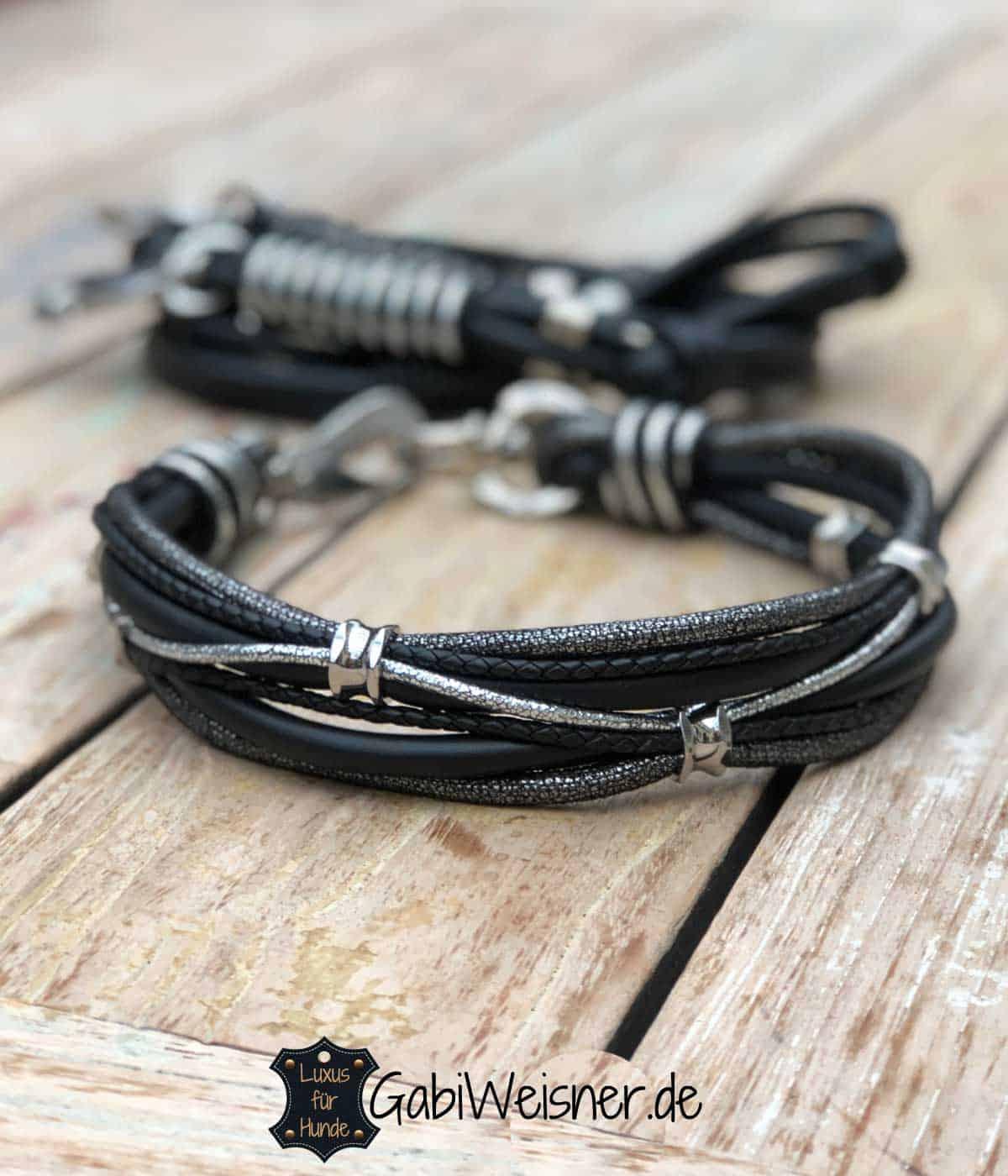 LUXUS Halsband und Leine für große Hunde. Nappaleder in Schwarz