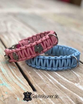 Halsband mit Klickverschluss für kleine Hunde. Leder in Hellblau/Rosa