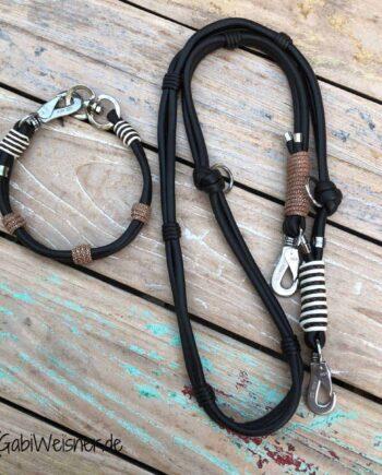 HundeHalsband Leder SET leichter Mix in Braun Beige