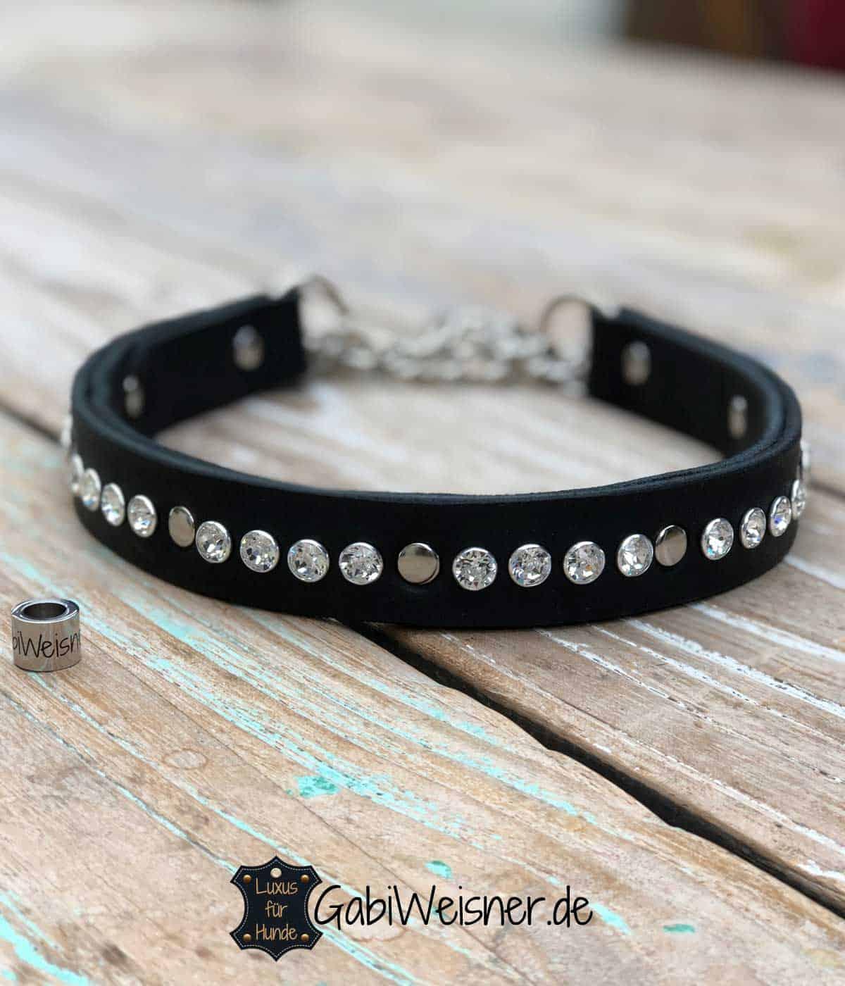 Luxus Hundehalsband Swarovski Elements auf Leder