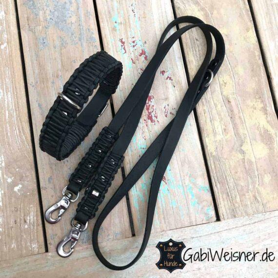 Hundehalsband und Leine Leder in Schwarz kombiniert mit Edelstahl