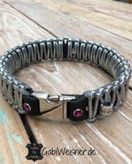 LUXUS-Halsband-und-Leine-pink-silber-schwarz-4